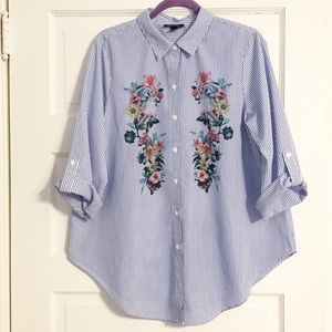 Alyx Blue Pinstripe Floral Print Button Up - Sz L